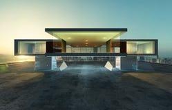 Vista di prospettiva di esterno contemporaneo della costruzione royalty illustrazione gratis