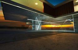 Vista di prospettiva di esterno contemporaneo della costruzione illustrazione di stock