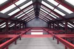 Vista di prospettiva interna d'acciaio rossa del fabbricato industriale illustrazione di stock
