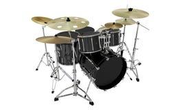 Vista di prospettiva moderna isolata dei tamburi neri Immagine Stock Libera da Diritti