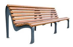Vista di prospettiva di un banco di legno, isolata su un bianco fotografia stock libera da diritti