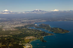 Vista di Puerto Montt, Cile Fotografie Stock