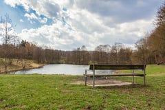 Vista di rilassamento del banco di parco sopra acqua Forest Landscape Peaceful Tr fotografia stock