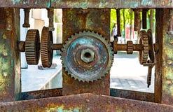Vista di riserva del primo piano delle ruote di ingranaggi del motore della foto immagine stock libera da diritti