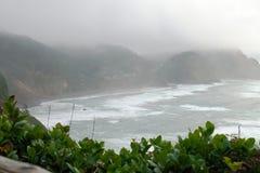 Vista di riva dell'oceano dal faro di Meares del capo fotografie stock libere da diritti