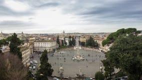 Vista di Roma dal pincio: Piazza del popolo, quadrato, monumenti, orizzonte, estate archivi video
