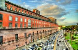 Vista di Royal Palace a Napoli Fotografia Stock Libera da Diritti