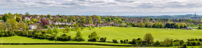Vista di Salisbury da vecchio Sarum Fotografie Stock Libere da Diritti