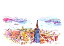 Vista di San Francisco Bay dall'edificio alto Immagine Stock