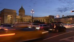Vista di San Pietroburgo della cattedrale di Kazan e della prospettiva di Nevsky stock footage