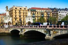 Vista di Sant Sebastian con il ponte di Maria Cristina Immagini Stock Libere da Diritti