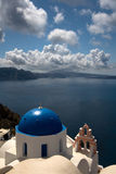 Vista di Santorini da Oia a Fira immagine stock libera da diritti