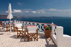 Vista di Santorini dal balcone Fotografie Stock Libere da Diritti