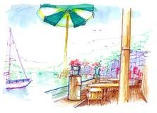 Vista di Sausalito dall'illustrazione del caffè della baia Fotografie Stock
