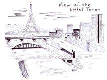 Vista di schizzo dell'illustrazione della torre Eiffel famosa del monumento di Parigi Fotografia Stock Libera da Diritti