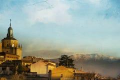 Vista di Segovia e delle montagne Immagini Stock Libere da Diritti