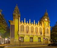 Vista di sera del museo del coltello a Albacete spain fotografia stock libera da diritti