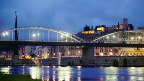 Vista di sera dell'Ebro e del castello a Tortosa Fotografia Stock