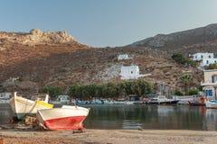 Vista di sera della baia di Vathys su Greco Kalymnos Immagini Stock