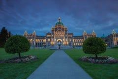 Vista di sera della casa di governo in Victoria BC Immagini Stock