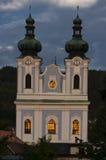 Vista di sera della cattedrale di vergine Maria Fotografie Stock