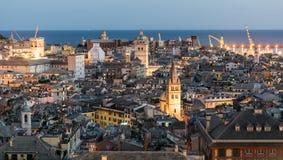 Vista di sera della città di Genova Immagine Stock Libera da Diritti