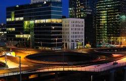 Vista di sera della città di Oslo Fotografie Stock