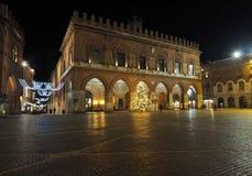 Vista di sera della piazza del comune, Cremona, Italia fotografia stock