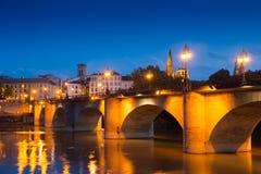 Vista di sera di Logrono Puente da Piedra sopra l'Ebro Fotografia Stock Libera da Diritti
