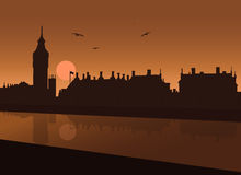 Vista di sera di Londra Fotografia Stock