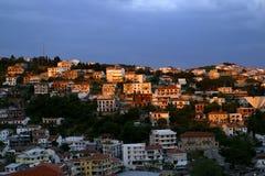 Vista di sera di Ulcinj nel Montenegro Fotografie Stock
