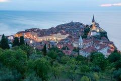 Vista di sera di Piran, Slovenia Fotografie Stock