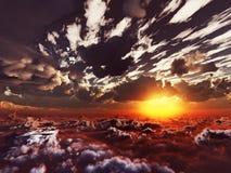 Vista di sera sopra le nubi Fotografie Stock Libere da Diritti