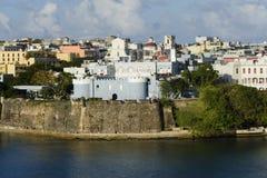 Vista di sera su vecchio San Juan, Porto Rico Fotografie Stock Libere da Diritti