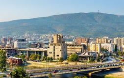 Vista di Skopje dalla fortezza fotografia stock libera da diritti