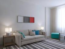 Vista di stanza bianca con grande tappeto royalty illustrazione gratis