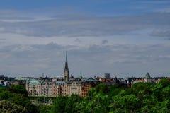 Vista di Stoccolma da Skansen Fotografia Stock