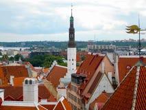 Vista di Tallinn dalla piattaforma di osservazione fotografia stock