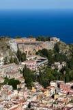 Vista di Taormina, Sicilia, Italia Fotografia Stock Libera da Diritti