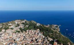 Vista di Taormina, Sicilia, Italia Immagini Stock