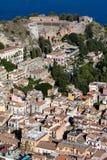 Vista di Taormina, Sicilia, Italia Fotografie Stock