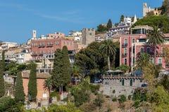 Vista di Taormina, Sicilia, Italia Immagine Stock