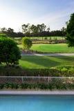 Vista di terreno da golf dal balcone Immagine Stock