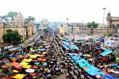 Vista di traffico dalla parte superiore di Charminar Fotografia Stock Libera da Diritti