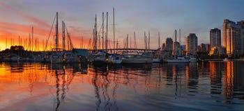 Vista di tramonto dalla sosta di Charleson a Vancouver BC Fotografie Stock Libere da Diritti