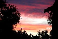 Vista di tramonto del cielo in Sunnyvale, California, U.S.A. Fotografie Stock