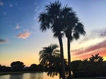 Vista di tramonto del lago Fotografia Stock Libera da Diritti
