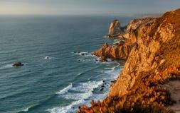 Vista di tramonto del mare dal punto westernmost di Europa Immagini Stock Libere da Diritti