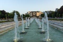 Vista di tramonto del palazzo nazionale di cultura a Sofia, Bulgaria Fotografia Stock Libera da Diritti