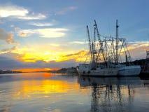 Vista di tramonto del porto Fotografie Stock Libere da Diritti